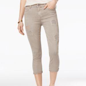 Vanilla Star Juniors' Cropped Rip And Repair Jeans